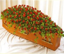 Red Rose Extra Large Coffin Spray Code JGFCS1201RE  | Local Delivery Or Collect From Shop Only