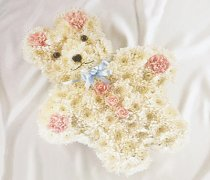 Teddy Bear Funeral Flower Tribute Code: JGFF1121PTB | Local Delivery Or Collect From Shop Only