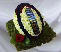 Rugby Ball Funeral Flowers 3D Navy Blue, Burgundy and White   Code: JGF946NBW