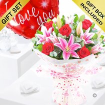 Rose and lily hand-tied with a I love you red heart balloon Code: JGF20072RLILYB | Local Delivery Or Collect From Shop Only
