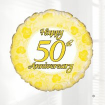 Happy 50th Anniversary Balloon Code: JGFB250GHAB  | Local Delivery Or Collect From Shop Only