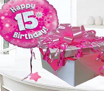 Happy 15th Birthday Balloon In A Box Pink CodeJGF15H15BBB