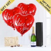 Love Hearts and champagne with luxury chocolates Code: JGFG74ILYCC | local delivery or collect from shop only