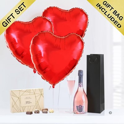 Hearts and sparkling rosé wine with luxury chocolates Code: JGFG025PRB-C | Local Delivery Or Collect From Shop Only