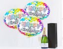 Happy birthday champagne and balloon celebration Code: JGFB7CBGS | local delivery or collect from shop only