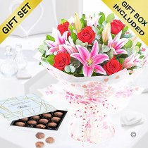 Rose and lily hand-tied with luxury belgian chocolate truffles Code: JGF20072RLT | Local Delivery Or Collect From Shop Only