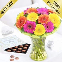 Germini Cheer Vase with a box of Luxury Chocolate Truffles Code: JGFG00280GCT | Local Delivery Or Collect From Shop Only