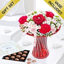 Red love vase with Belgian milk chocolate truffles Code: JGFV4041VCT  | Local delivery or collect from shop only