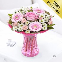 Cotton Candy Vase Arrangement Code: JGFC00281PS | Local Delivery Or Collect From Shop Only