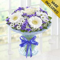 Happy Birthday Azure Vase Code: JGFHA928871BVH  | Local Delivery Or Collect From Shop Only