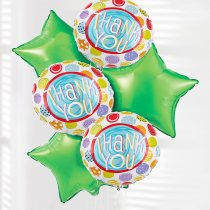 Thank you dots and green stars balloon bouquet Code: JGFT50792BB | Local Delivery Or Collect From Shop Only
