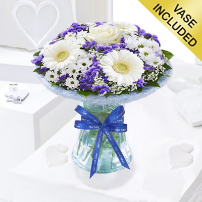 Azure Get Well Vase Arrangement Code: JGFGA928871BV | Local Delivery Or Collect From Shop Only