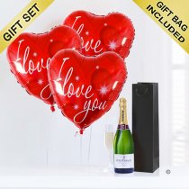 Love Hearts and Champagne Code: JGFG74ILC | Local Delivery Or Collect From Shop Only