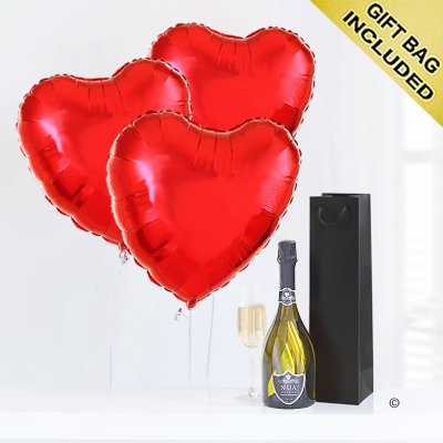 Hearts with prosecco Code: JGFV74PRHP | Local Delivery Or Collect From Shop Only