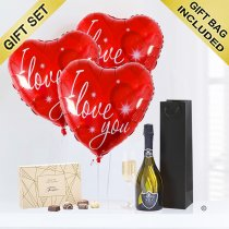 Love Hearts With Prosecco and Chocolates Code: JGFG742LPC | Local Delivery Or Collect From Shop Only