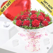 Twelve hugs and kisses with a red plain heart balloon Code: JGF424012RRHB | Local Delivery Or Collect From Shop Only