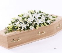 White Oriental Lily Casket Spray Code: F13530WS  | National and Local Delivery