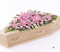Pink Oriental Lily Casket Spray Code: F13530PS | National and Local Delivery