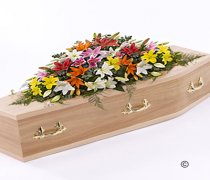 Vibrant Mixed Lily Casket Spray Code: F13530VS | National and Local Delivery