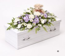 Children's Blue & Lilac Casket Spray with Teddy Bear Code: F13781BS