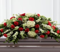 Mixed Casket Spray - Red and Green Code: F13860RS | National and Local Delivery