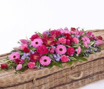 Classic Selection Pink and Red Casket Spray Code: F13630MS | National and Local Delivery
