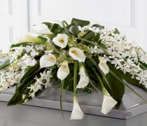 Calla Lily and Orchid Casket Spray Code: F13841WS | National and Local Delivery