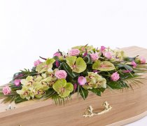 Rose, Orchid and Calla Lily Casket Spray Code: F13140MS | National and Local Delivery