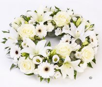 White Rose and Lily Wreath Code: F13050WS