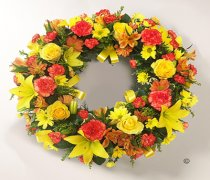 Yellow and Orange Rose and Lily Wreath Code: JGFF970OYW | Local Delivery Or Collect From Shop Only