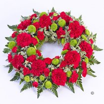 Red and Green Classic Wreath Code: F13740RS | National Delivery and Local Delivery Or Collect From Shop