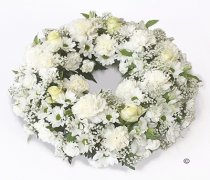 White Classic Wreath Code: JGFF410WW  | Local Delivery Or Collect From Shop Only