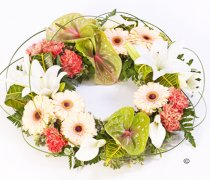 Peach, white and Green Exotic Wreath Code: F13450MS