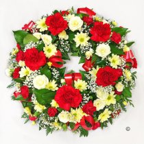 Red and Yellow Classic Wreath Code: JGFF2760RYW | Local Delivery Or Collect From Shop Only