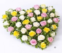 Yellow, White and Pink Mixed Rose Heart Code: F13181MS | National and Local Delivery