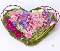 Contemporary Pink and Green Heart Code: F13201MS | National and Local Delivery