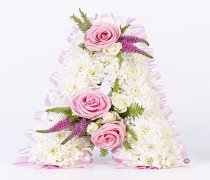 Pink Rose and White Spray Rose White Massed Letter Tribute Code: F13191PS | National and Local Delivery