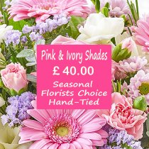 Pink and Ivory Shades Florist Choice Hand-Tied Code: JGFL-PIHT40 |  Local Delivery Only