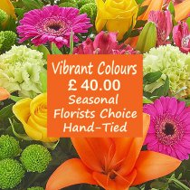 Vibrant Colour Florist Choice Hand-Tied Code: JGFL-VCHT40 | Local Delivery Or Collect From Shop Only