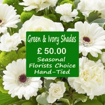 Green and Ivory Shades Florist Choice Hand-Tied Code: JGFL-GIHT50 | Local Delivery Or Collect From Shop Only