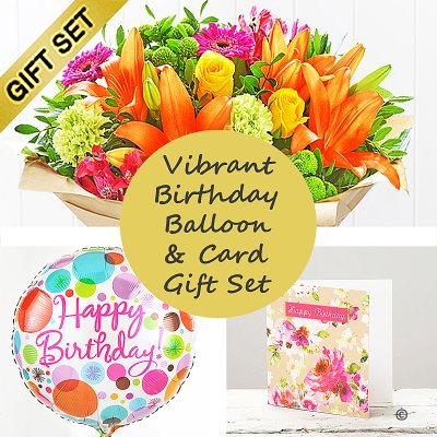 Happy Birthday Vibrant Hand-Tied With Happy Birthday Balloon and Happy Birthday Card Gift Set,Code: JGFH20381VHB-HBC | Local Delivery Or Collect