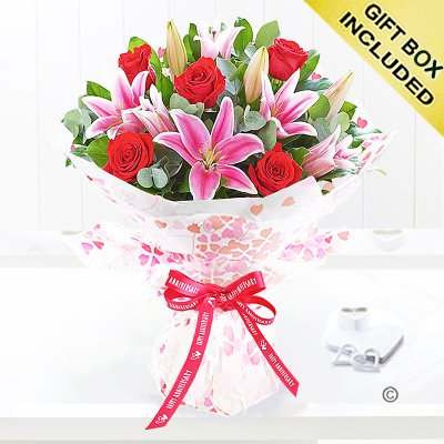 Happy Anniversary Hearts Red Rose and Pink Lily Hand-tied Code: JGFA00411HA| Local Delivery Or Collect From Shop Only