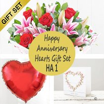 Happy Anniversary Hearts Gift Set  HA1  Code: JGF HA1 | Local Delivery Or Collect From Shop Only