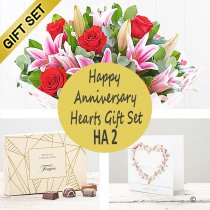 Happy Anniversary Hearts Gift Set HA2 Code: JGFHA2CC | Local Delivery Or Collect From Shop Only
