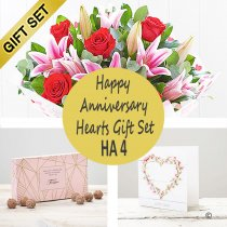 Happy Anniversary Hearts Gift Set HA4 Code: JGFHA4SCTC | Local Delivery Or Collect From Shop Only