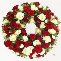 Luxurious Red and White Rose Classic Wreath Code: JGFF300RWWR | Local Delivery Or Collect From Shop Only