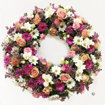 Luxurious Pink and White Classic Wreath Code: JGFF3700LPWW | Local Delivery Or Collect From Shop Only