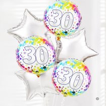 30th birthday balloon bouquet silver and dots Code: JGF02930SDBB | Local Delivery Or Collect From Shop Only