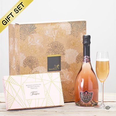 Sparkling rosé wine and luxury salted caramel truffles gift set Code: JGFC041SRSCT | Local Delivery Or Collect From Shop Only