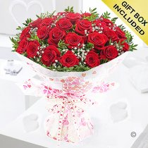 24 red roses hugs and kisses hand tied Code: JGF424024RR | Local Delivery Or Collect From Shop Only